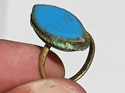 Extremely Rare Intact Ancient Roman Bronze Ring Stunning Rare Stone.3,0 Gr.18Mm