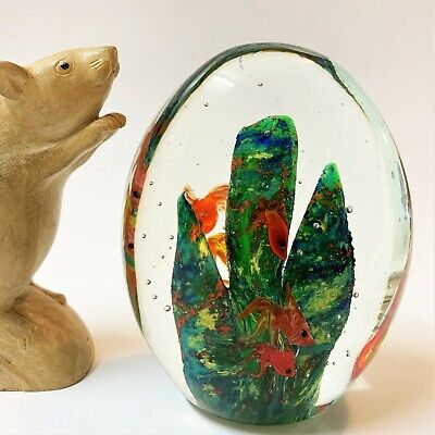 Large Art Glass Paperweight Goldfish & Kelp   1.1kg, 12cm High 10cm Wide