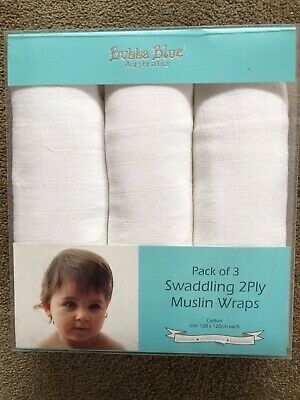 Set Of 3 Bubba Blue Cotton Muslin Swaddling Baby Wraps 120Cm X 120Cm Brand New