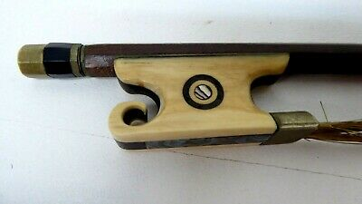 Antique Wooden Violin Bow Scrolled Frog Pearl Shell Inlaid Eye Old Estate Piece