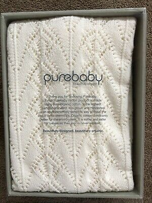 PUREBABY Eyelet knitted 100% organic cotton blanket - Vanilla BRAND NEW IN BOX