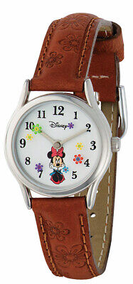 Official Disney Minnie Mouse Genuine Brown Leather Leather Ladies Girls Watch