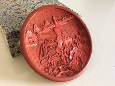 Chinese Old Cinnabar Red Lacquer Plate Dish / W 10[cm] Qing Pot Bowl