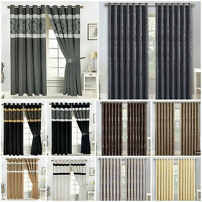 Jacquard OR Faux Silk Eyelet Ring Top Curtains Including Free Tiebacks, Cushions