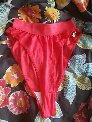 Super High Waisted NYLON 1980s Vintage Red Panties Size 7 Large Thick Waistband