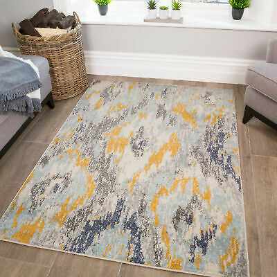 Ochre Yellow Abstract Rug | Modern Rugs For Living Room | Cheap Rugs For Sale