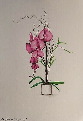 ORCHID Drawing, Pink Flowers Still Life