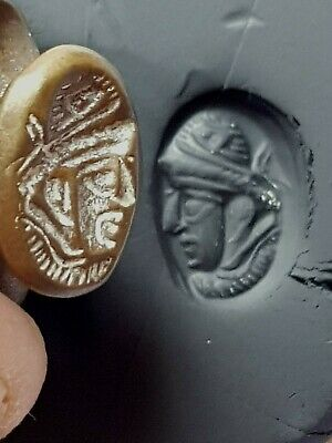 Superb Rare Medieval Bronze Seal Ring Sasanian Kings.8,0 Gr.22 Mm
