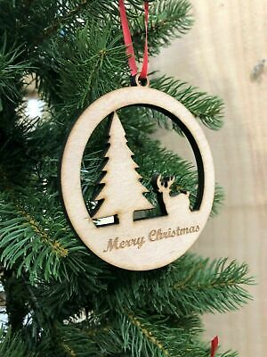 Wooden Christmas Trees Plywood Hanging Hole Blank Xmas Party Gift Tag HA