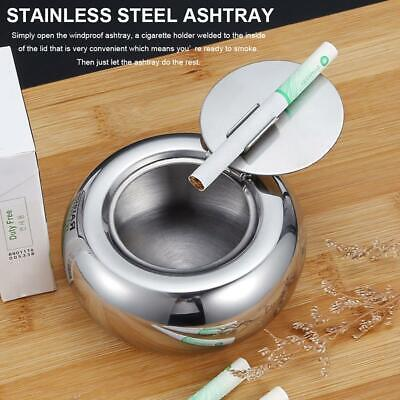 Windproof Round Ashtray With Lid Stainless Steel Rotary Cigarette Ash Holder Cup