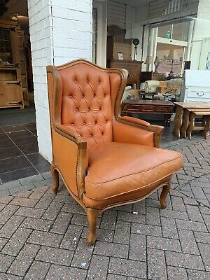Vintage Leather Chesterfield Wingback Armchair Louis XV French Style
