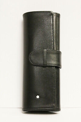 Montblanc Black Leather Pen Pouch Holds 1 Pen and 6 Cartridges