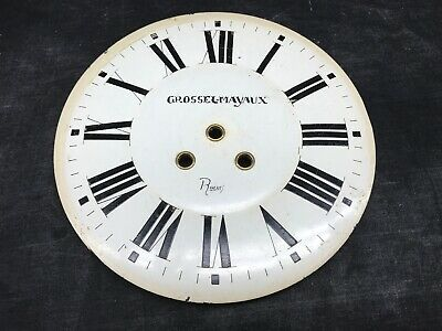 Dial Sheet Metal Enamelled Clock Antique, Grossel-Mayaux Reims Clock Comptoise