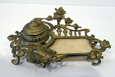 Antique 19th Century French Ormolu Gilt Bronze Ink Stand w Marble Tray