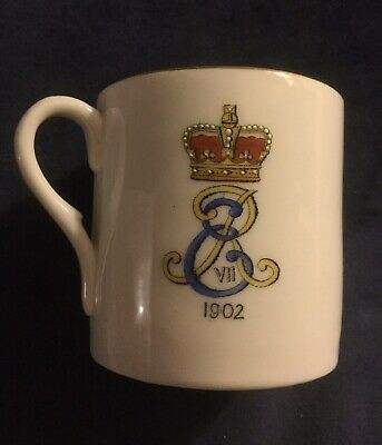 1902 Antique King Edward Vii Coronation Mug Lithophane On Base Lathom Burscough