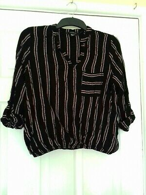 Womens Black White And Red Midsleeve Top Size 12 Primark