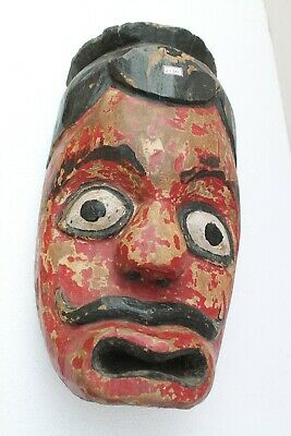 Antique Old HandCarved Painted Wooden Tribal Demon Face Mask Wall Hanging NH2130