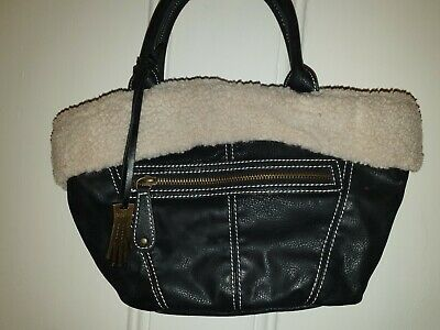 """Ladies Small Black Faux Leather Handbag With Furry Trim By """"DENTS"""""""