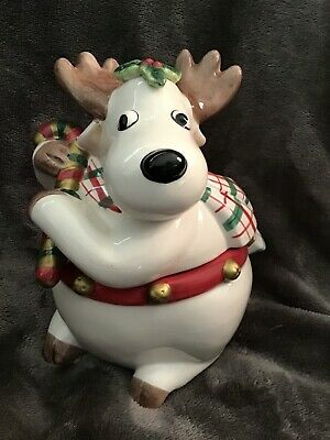 Fitz and FLoyd Plaid Christmas Reindeer Candy Jar Dish New in Box