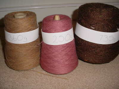 1.345 kg 3 Cones Machine Knitting Wool Yarn, Fawn, Pink, Brown