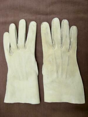 Buckskin gloves.  Cream. From Jermyn Street. Woman's hand size