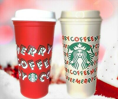 Starbucks 2019 Holiday Christmas MERRY COFFEE Red & White 2 Reusable Hot Cups