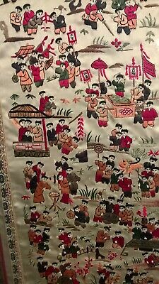 Chinese embroidered silk little boys late 19th century picture