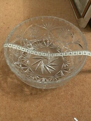 Very Heavy Cut Glass Decorative 'Fruit' Bowl