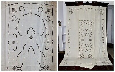 Rare Vintage RICHELIEU H/Embroidered Irish Linen Banquet Tablecloth+12 Napkins