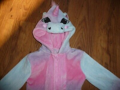 Girls Pink One piece hooded Unicorn Sleep-suit  Pyjamas Age 6/7 Years in VGC!!