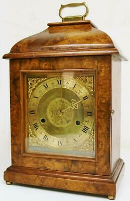 Small Antique English Bracket Clock 8 Day Burr Walnut Gong Striking Mantel Clock