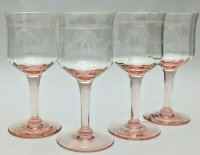 """Vintage Pink Cordials Cut Flower Crystal Small Depression Small Wine Glass 5"""""""
