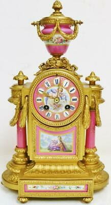 Antique French 8 Day Striking Gilt Metal & Pink Sevres Porcelain Mantel Clock