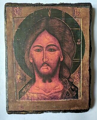 19c Orthodox Icon Jesus Christ Rus. Empire, Gilding, Hand Painted Board 17x14cm
