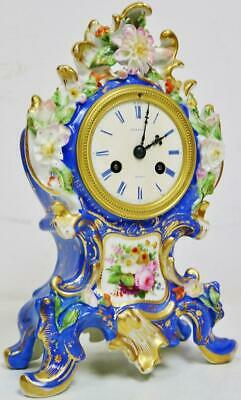 Antique French 8 Day Striking Hand Painted Sevres Porcelain Rococo mantel Clock