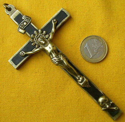 French 18th century BRONZE AND ROSEWOOD LARGE CRUCIFIX MEMENTO MORI