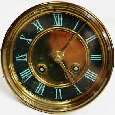 Antique French 8 Day Gong Striking Enamel Dial Clock Movement Spares Or Repair