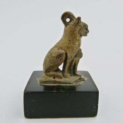 Archaic Egyptian Pendant Figure Of A Cat With Kitten Amulet Cast From Porus Rock