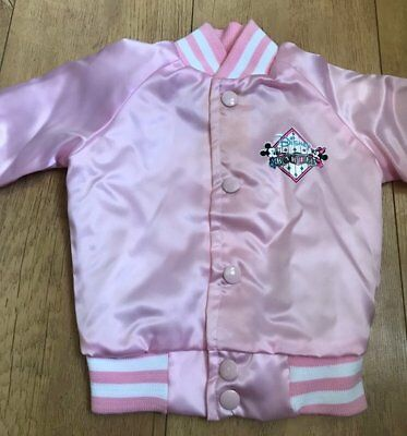 A Vintage Babies Varsity style jacket, in Pink. Disney's Baby Minnie Mouse Logo