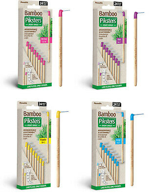 Bamboo Piksters Right Angle Handle 24pks. Sizes 00, 1, 3 or 5. Bulk Buy and Save