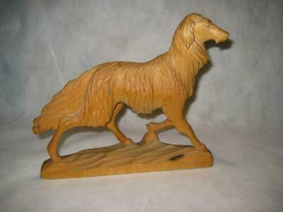 """Rare Vintage Hand Carved Wood Russian Wolf Hound Signed ~ 7.5"""" H X 9"""" L X 2"""" W"""