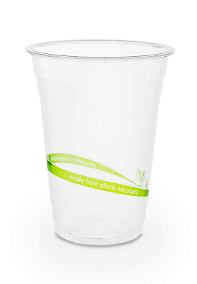 Plantvibes ® 50 x Clear Disposable Cups 9oz   100% compostable & Biodegradable  