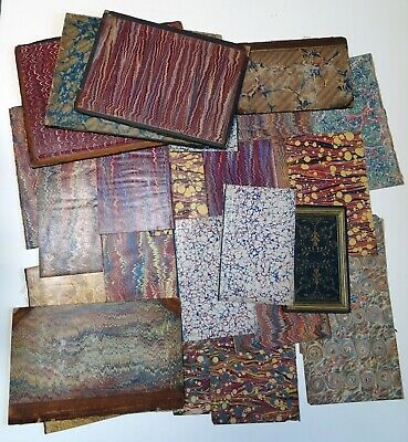 Lot of Antique Marbled Book Papers and Boards 25 Pieces 1850 - 1870