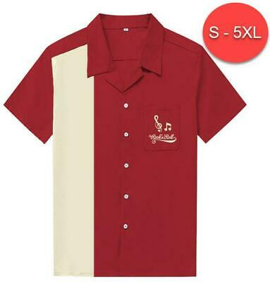 Mens Vintage Style Bowling Dress Shirt - MAROON/IVORY