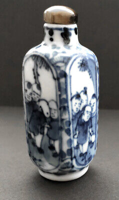 Vintage 19th Century Chinese Blue  & White Porcelain Snuff Bottle Bottles