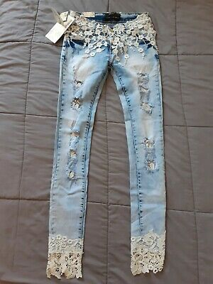 Realty Fashion white lace light blue distressed jeans size 36