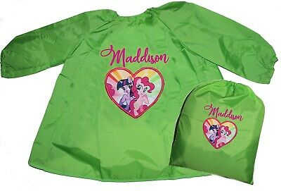 Kids Personalised Art Smock Paint Shirt & Library Bag set - My Little Pony Heart