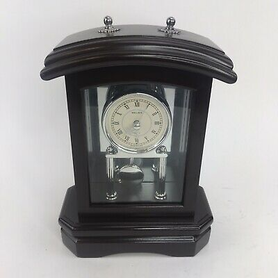 Wallace Silversmith Wooden Mantle Clock - Clock Works - Pendulum Does Not Work