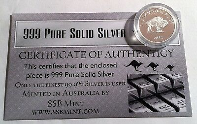 BUFFALO 1/10th Oz 99.9% Pure Solid Silver Bullion Coin, with C.O.A. Investment