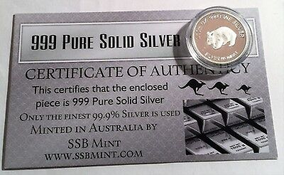Wombat 1/10th Oz 999.0 Pure Solid Silver Coin 14 to Collect with C.O.A. Animals